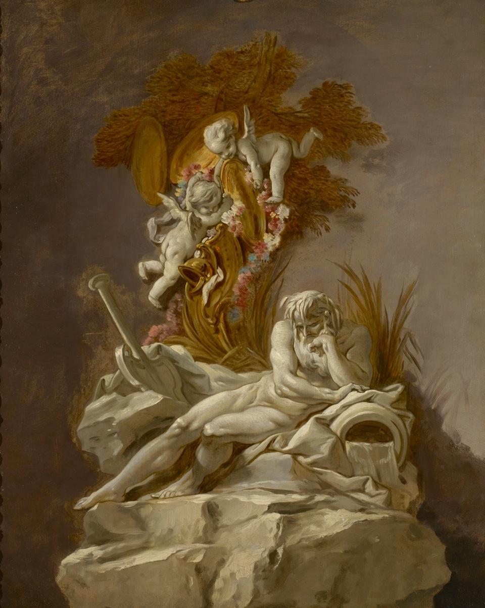 François Boucher, Etude de Dieu fleuve, XVIIIe siècle, galerie Eric Coatalem