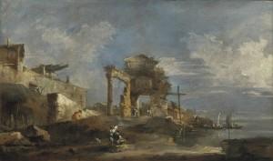 Francesco Guardi, Capriccio avec des ruines et une lagune, 1775-1780, galerie Cesare Lampronti