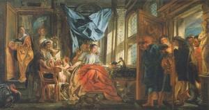 Jacob Jordaens, Télémaque conduisant Théoclymène devant sa mère Pénélope, Aix-en-Provence, musée Granet, actuellement exposé au Petit Palais de Paris dans le cadre de l'exposition Jacob Jordaens.