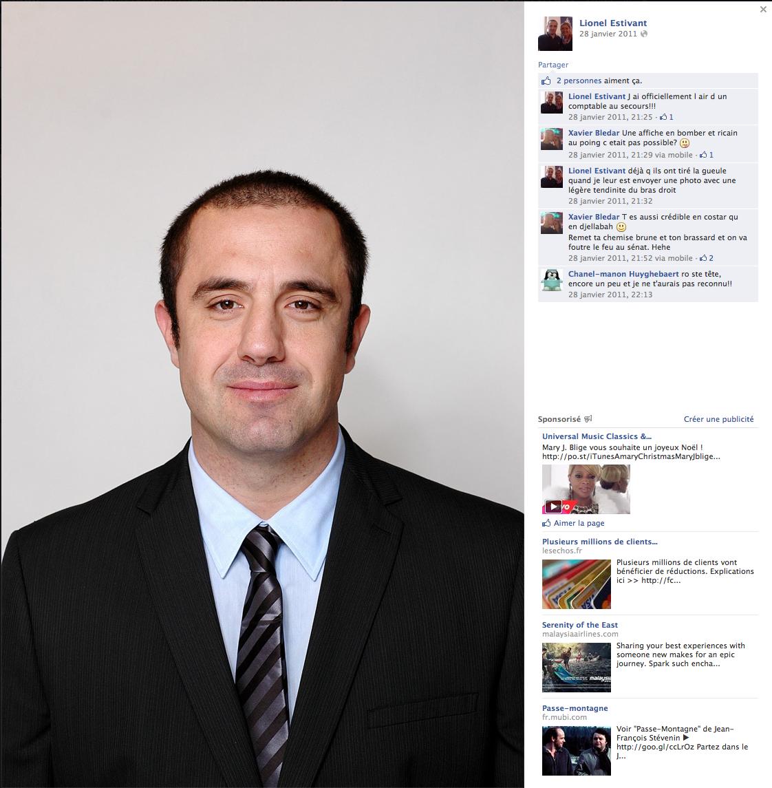 Photo de Lionel Estivant (FN) visible sur son compte Facebook. Cliquer pour agrandir et visionner les commentaires.