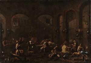Alessandro Magnasco, Réunion de soldats et de picaros, vers 1710-1720, galerie Michel Descours