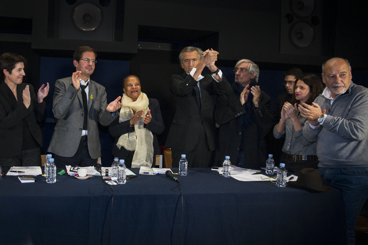 Christiane Taubira, entourée de Christine Angot, Alexis Lacroix, Bernard-Henri Lévy, Maurice Szafran, Patrick Klugman, Karine Tuil et Tahar Ben Jelloun, lors du séminaire du 17 novembre.