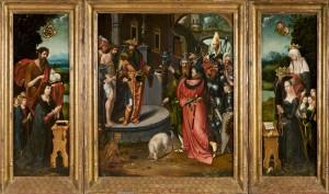 Adriaen van Overbeke, Ecce Homo, triptyque, vers 1515, galerie Claude Vittet
