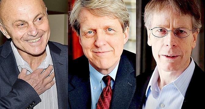 Eugene Fama, Robert Shiller et Lars Hansen, prix Nobel d'économie 2013.