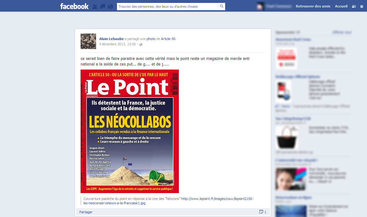Capture d'écran d'un post facebook d'Alain Lebauche