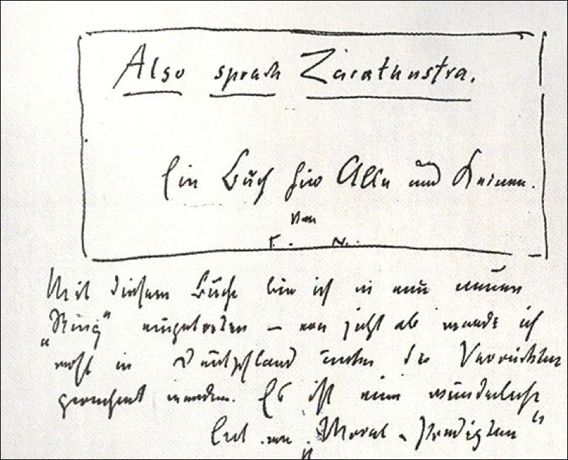 Lettre de Nietzsche à son ami Peter Gast (1er. Février 1883) dans laquelle il lui dédie Ainsi parlait Zarathoustra.