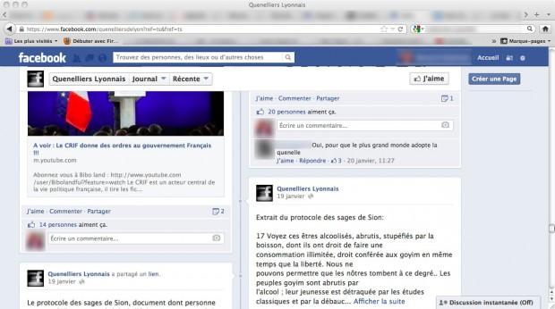 Capture d'écran du compte Facebook du groupe Quenelliers lyonnais