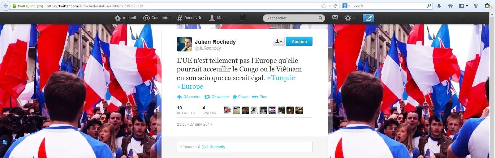 Capture d'écran du compte Twitter de Julien Rochedy