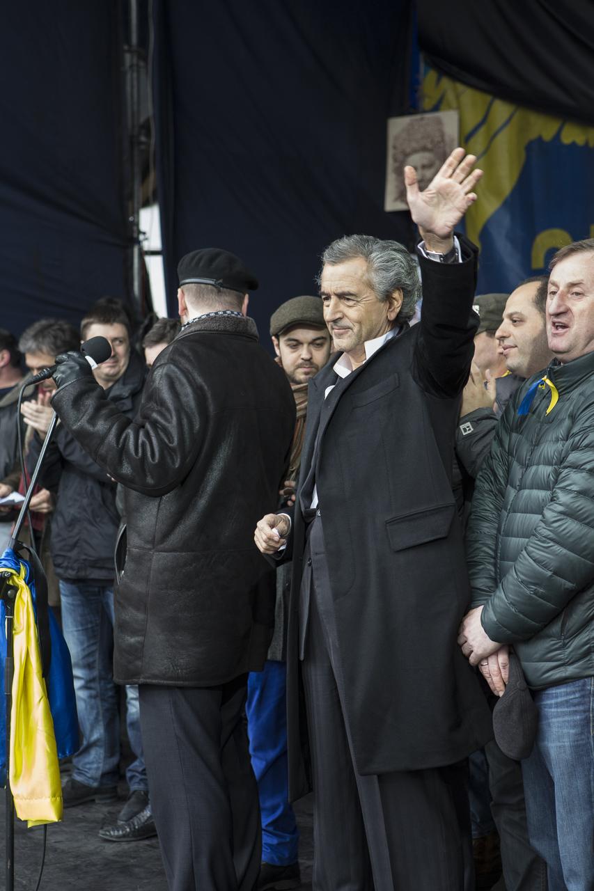 Bernard-Henri Lévy a prononcé un discours sur la place du Maidan, le 2 mars 2014.