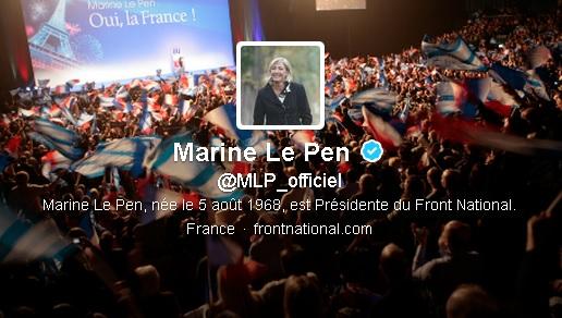 Le compte Twitter de Marine Le Pen