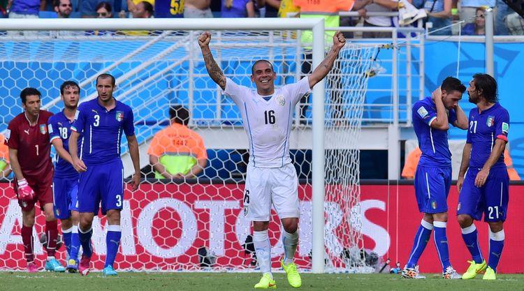 L'Uruguayen Maximiliano Pereira lors du match contre l'Italie, mardi 24 juin 2014. © Giuseppe Cacace - AFP