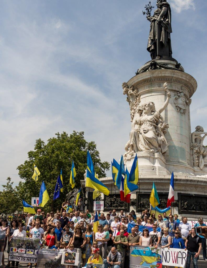 Manifestation contre l'agression russe en Ukraine, le 27 juillet 2014 à Paris.