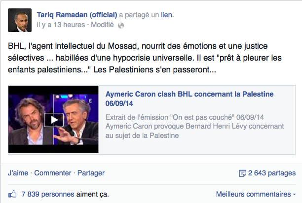 Capture d'écran d'une publication de Tariq Ramadan sur son mur Facebook.