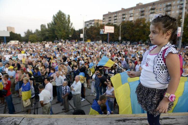 Manifestation dans la région de Donetsk le 28 août 2014, demandant le retrait des troupes russes.