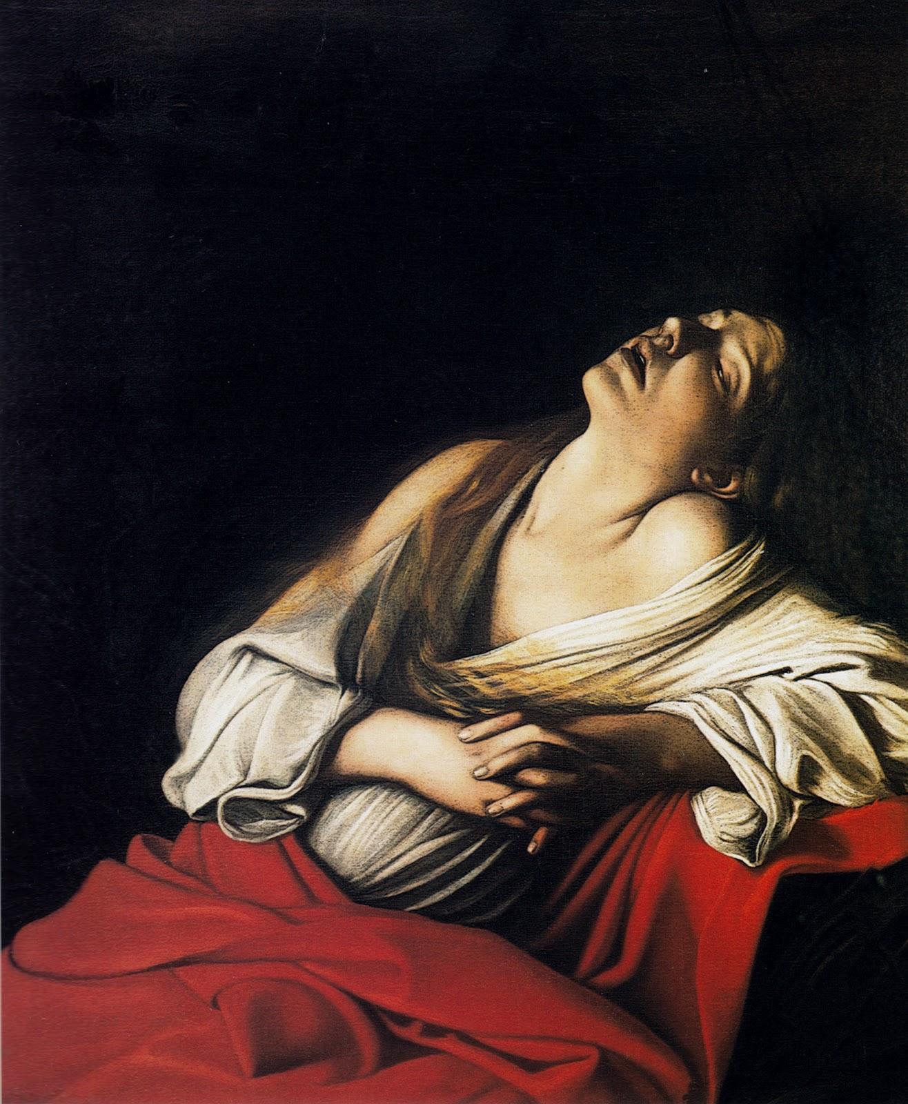 Détail du tableau attribué au Caravage, Madeleine en extase, huile sur toile, 103,5 x 91,5 cm, collection privée.
