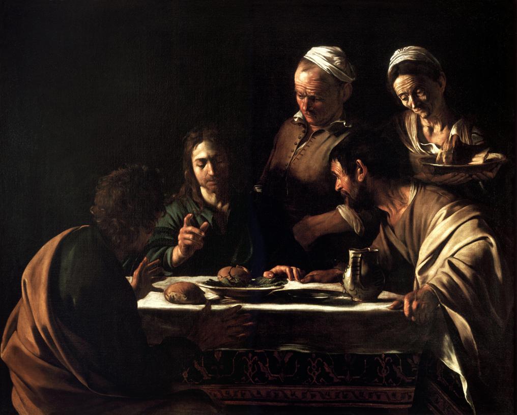 Le Caravage, Le Souper à Emmaüs, 1606, huile sur toile, 141 x 175 cm, Milan, Pinacoteca di Brera.