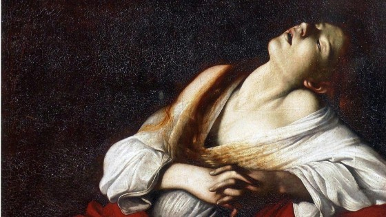 Attribué au Caravage, Madeleine en extase (détail), vers 1606, huile sur toile, 103,5 x 91,5 cm, collection particulière.