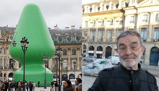 """Place Vendôme, Paris. A gauche, """"Tree"""" de Paul McCarthy, oeuvre qui a été l'objet d'une controverse en raison de sa ressemblance à un sextoy. A droite, le 19 octobre 2014 : Arrabal avec l'oeuvre agressée de McCathy, dégonflée par des inconnus en lien avec le Printemps français, mouvement composé de militants identitaires et catholiques traditionalistes"""