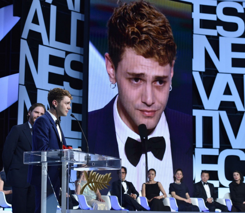 Xavier Dolan lors de la remise du Prix du Jury à Cannes en 2014.