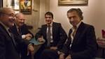 Roger Cukierman, le Président du CRIF, Manuel Valls et Bernard-Henri Lévy étaient réunis le 2 octobre dernier au Théâtre de l'Atelier, à l'occasion d'une représentation d'« Hôtel Europe ». Photo: Yann Revol