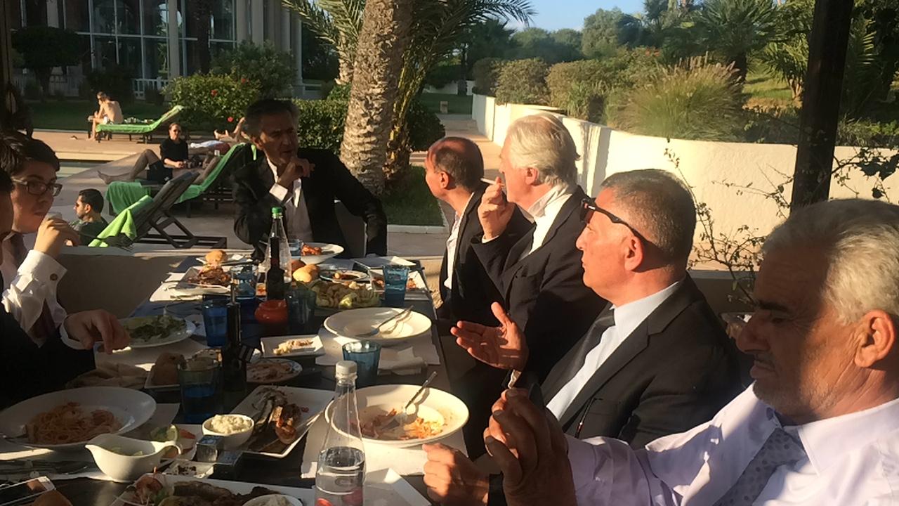 Fadil Lamine, Bernard-Henri Lévy, Gilles Hertzog, Waheed Burshan et Nouri Cheriou, à Tunis.