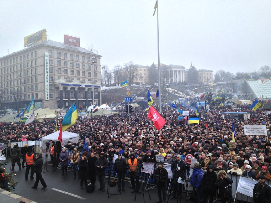 La place du Maïdan en février 2014