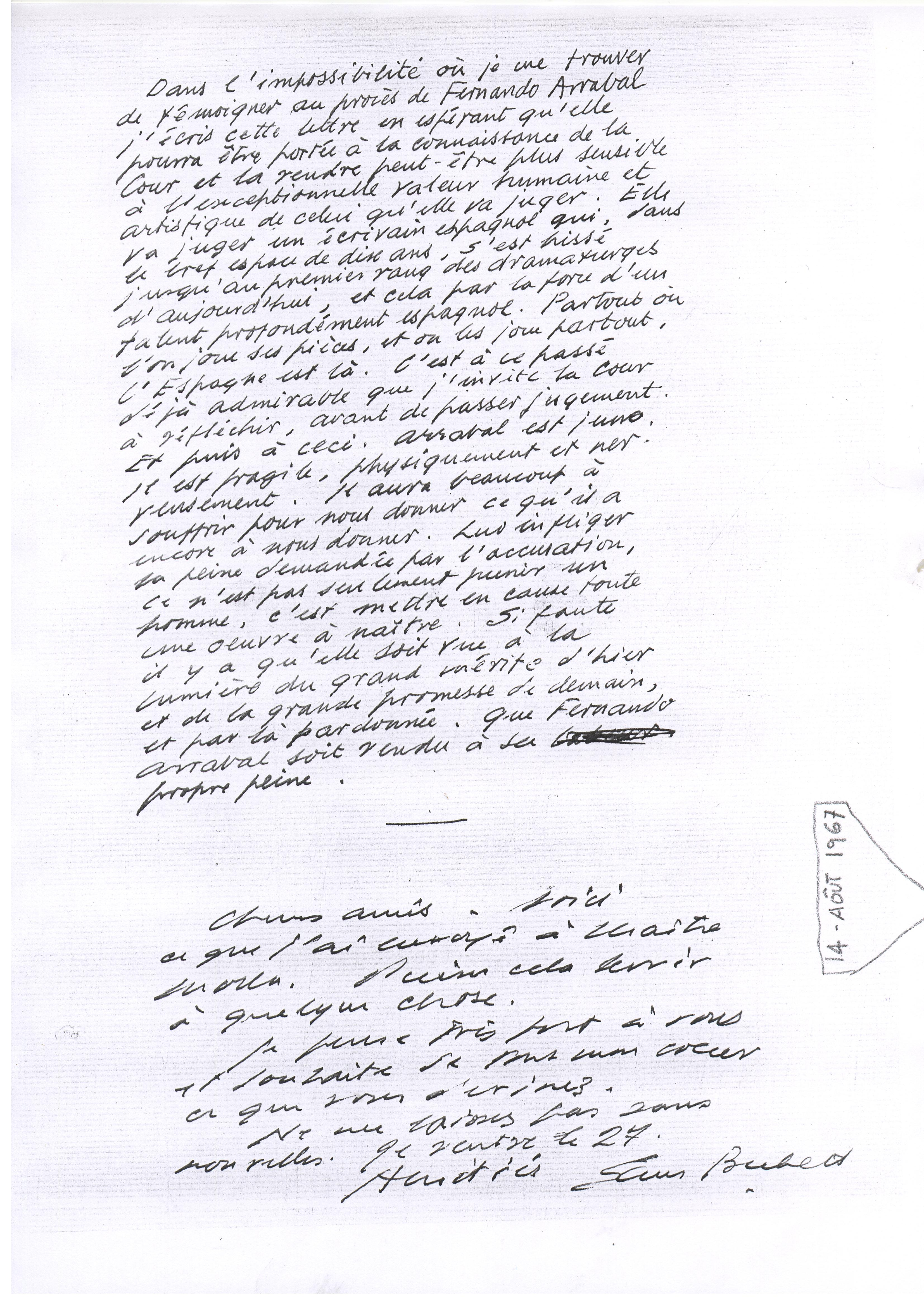 Lettre de Samuel Beckett en défense de Fernando Arrabal. 14 août 1967.