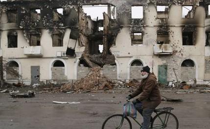 Vouhlehirsk, près de Debaltsevo, dans l'est de l'Ukraine.