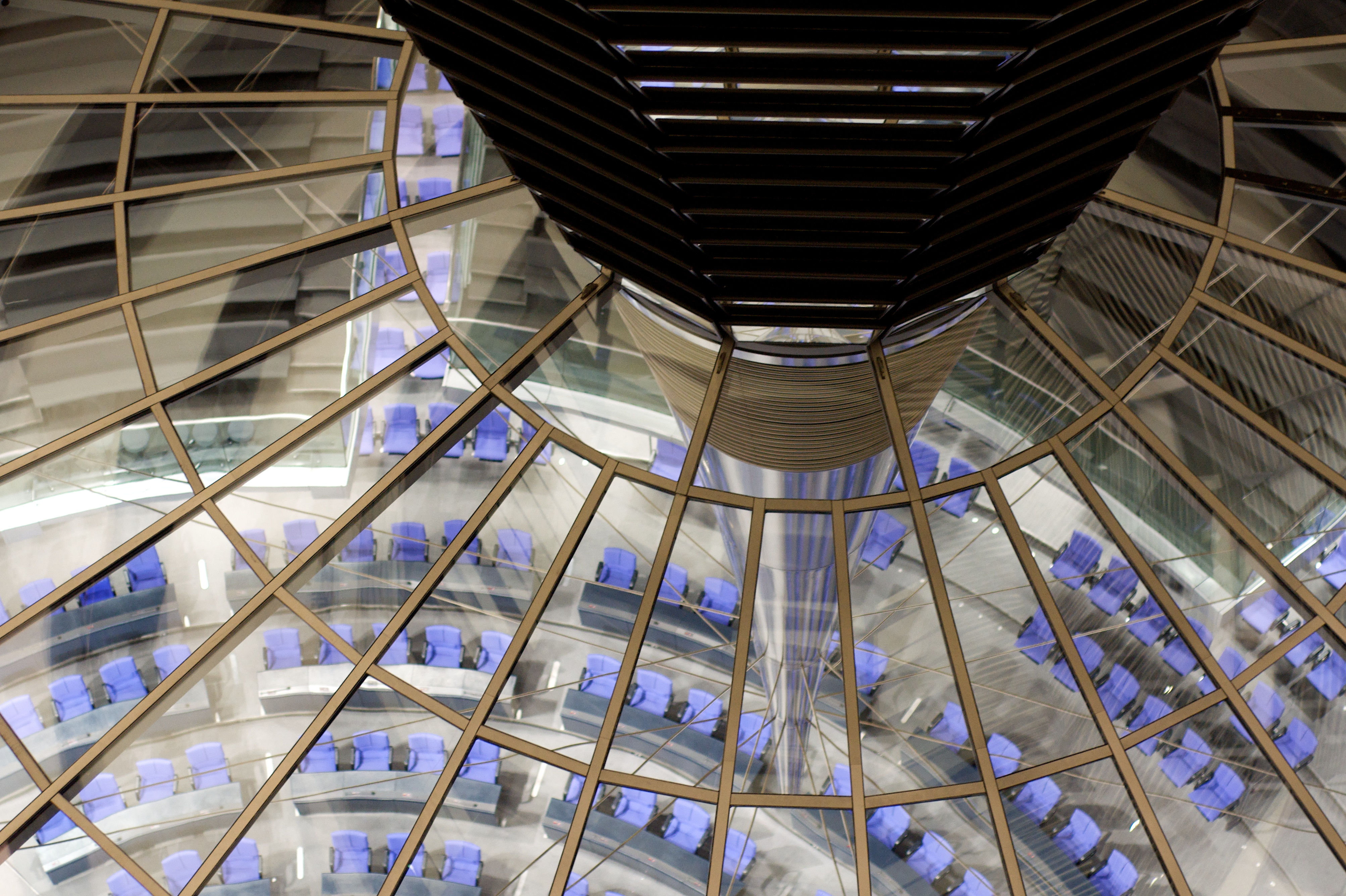 View of the Plenary Chamber of the Bundestag from the Dome of the Reichstag. Reconstruction design by Norman Foster