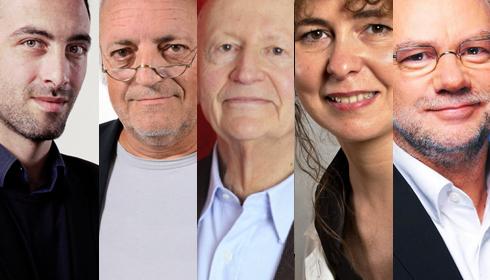 Portraits des auteurs Raphaël Glucksmann, Alain Borer, Gilles Jacob, Valérie Toranian, Laurent Joffrin.