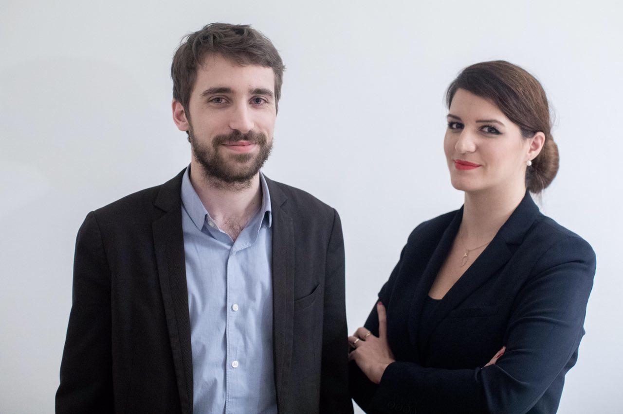 Jérémie Peltier et Marlène Schiappa. Photo pour les éditions de l'Aube.