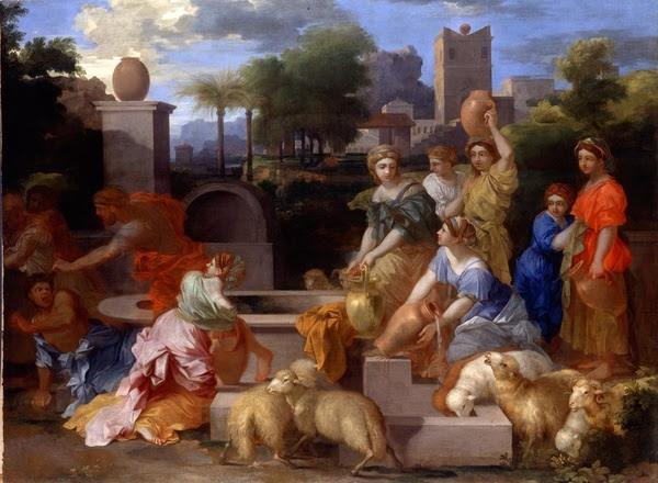 Sébastien Bourdon, Moïse et les filles de Jethro, 115 x 156 cm, galerie Derek Johns.