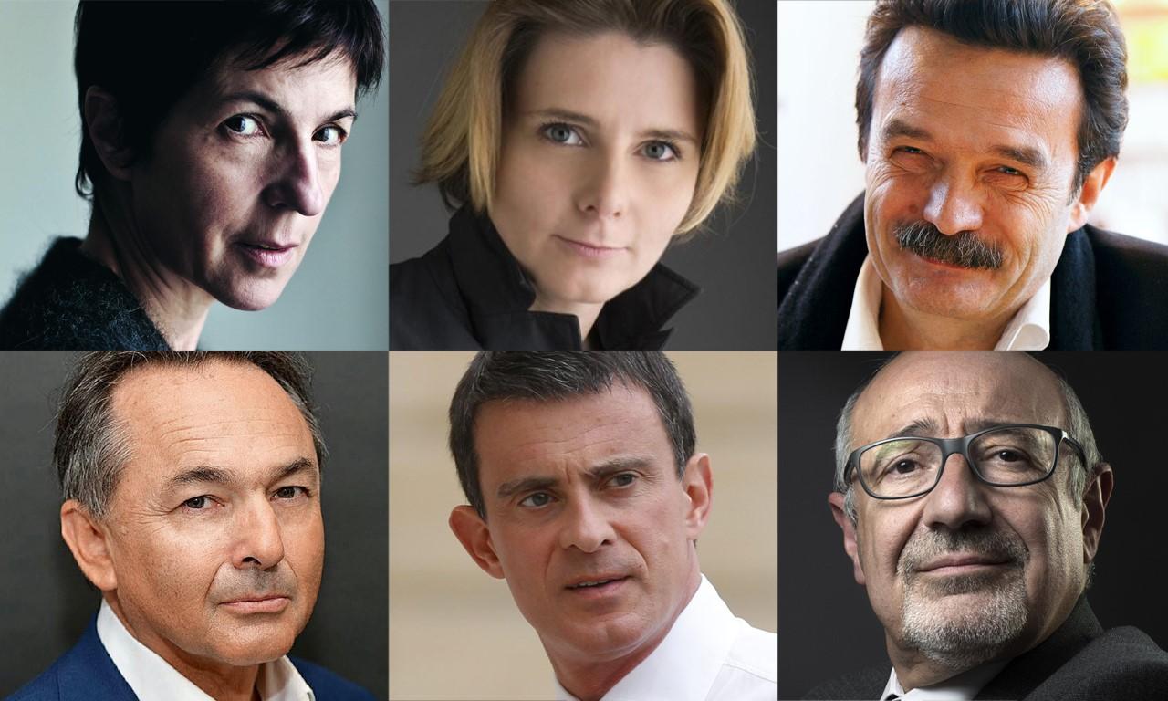 Les portraits des intervenants de La Règle du jeu : Christine Angot, Caroline Fourest, Edwy Plenel, Gilles Kepel, Manuel Valls, Francis Kalifat.