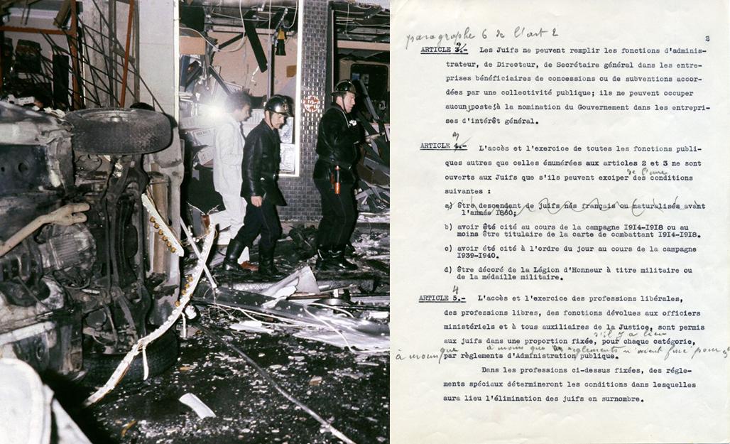 A Gauche : La Rue Copernic, à Paris, le 3 octobre 1980 à 18h38, suite à l'attentat à la bombe dirigé contre la synagogue de l'Union libérale israélite de France. A droite : Loi du 3 octobre 1940 «portant statut des Juifs», également appelée «premier statut des Juifs» édictée par le Régime de Vichy.