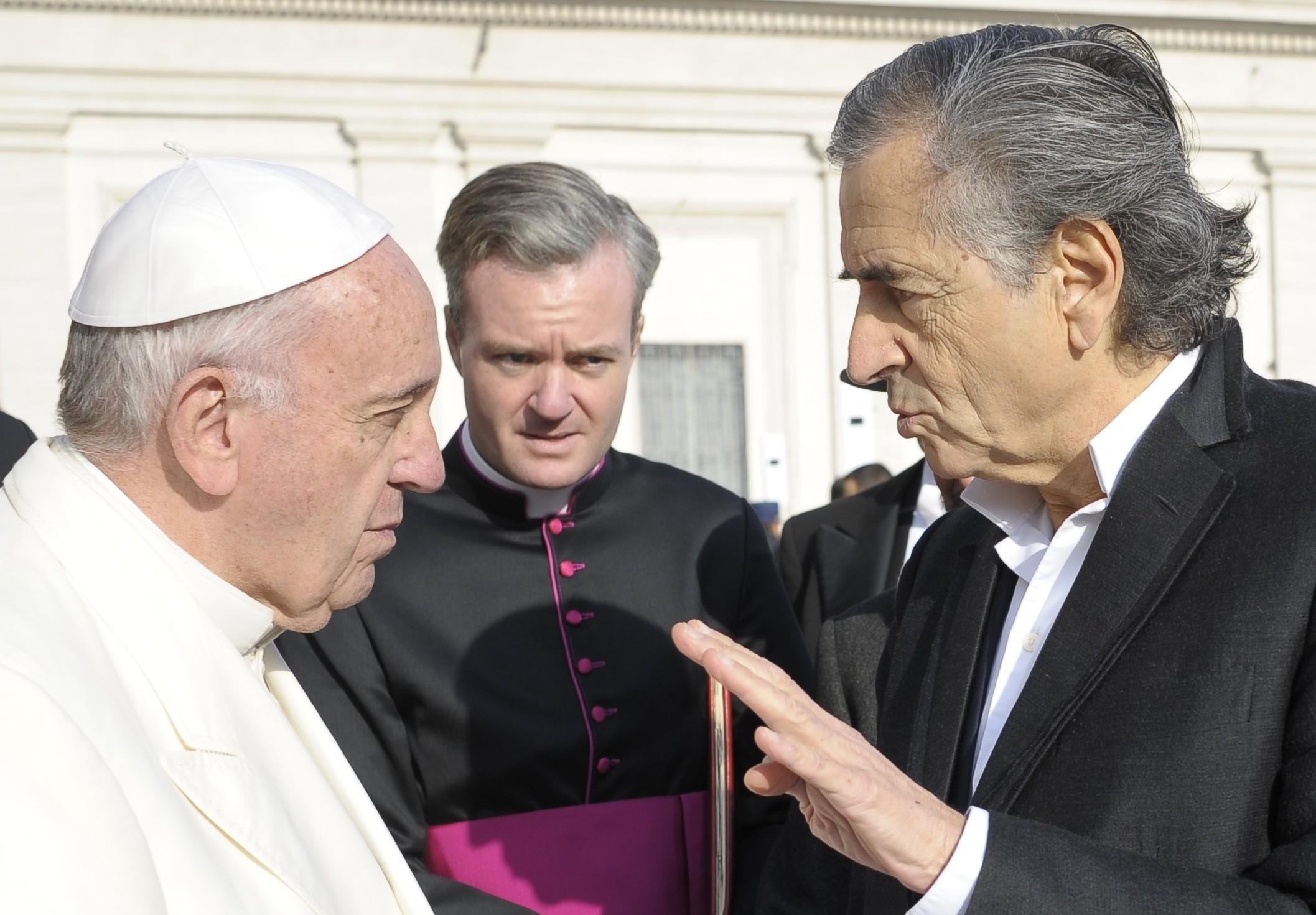 Le Pape François et Bernard-Henri Lévy au Vatican