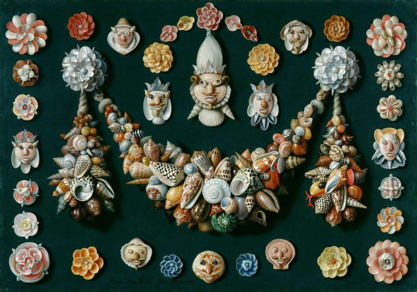"""Jan van Kessel l'Ancien, """"Festons, masques et rosettes de coquillages"""", XVIIe siècle, huile sur cuivre, 40 x 56 cm"""