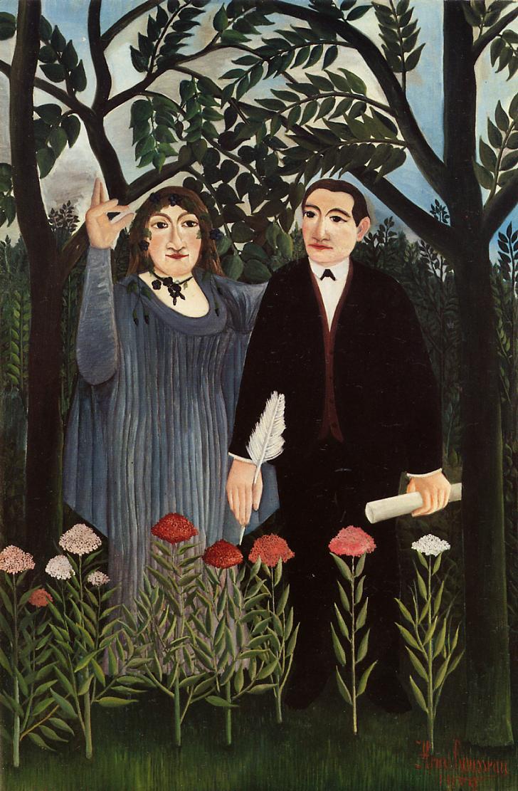 """Douanier Rousseau, """"La muse inspirant le poète"""", 1909 : un portrait de Marie Laurencin et Guillaume Apollinaire."""