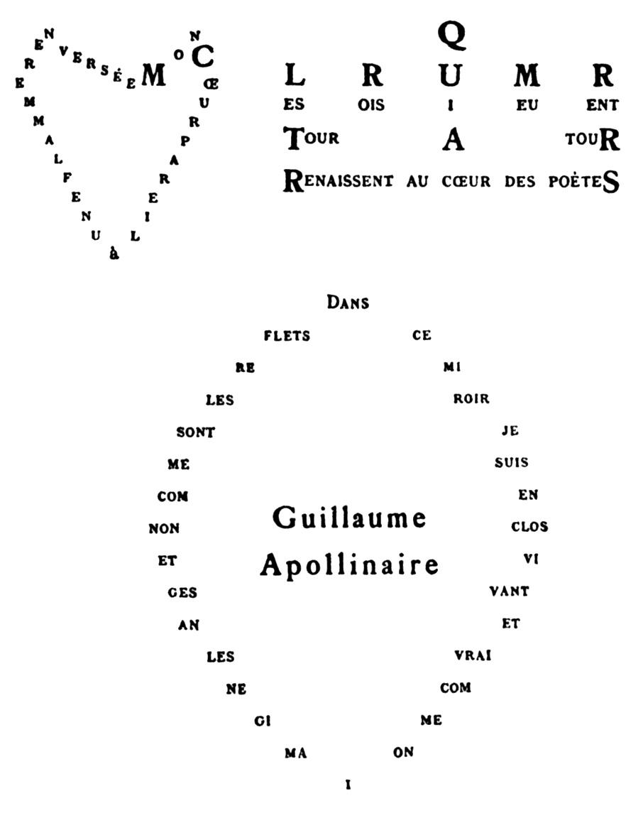 Trois Calligrammes d'Apollinaire
