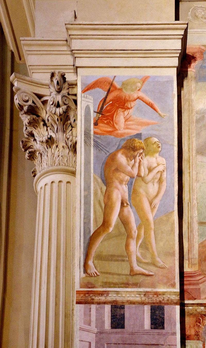 L'Adam et Eve chassés du Paradis de Masaccio figure sur un pilastre de la chapelle Brancacci de l'église Santa Maria del Carmine de Florence.