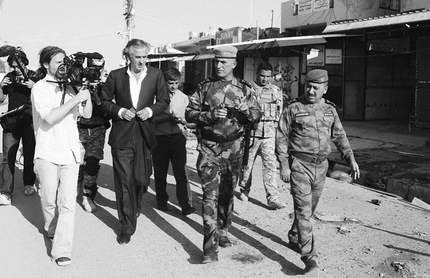 """Tournage du film """"Peshmerga"""" de Bernard-Henri Lévy."""