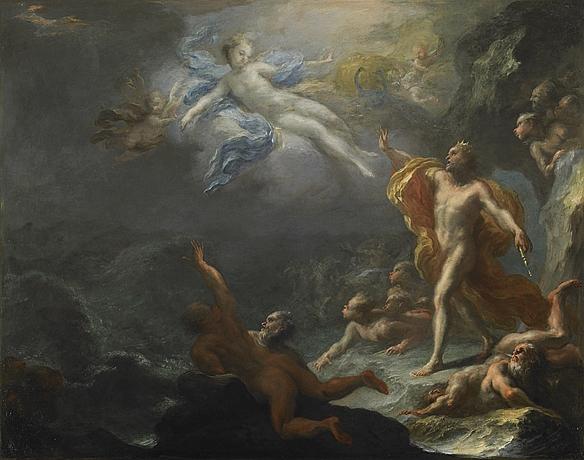Junon et Éole. Par Giacomo Del Pò (Rome 1652 - Naples 1726). Junon, accompagnée de ses paons, vient demander au roi Éole de libérer les vents afin de couler l'expédition navale d'Énée fuyant Troie.