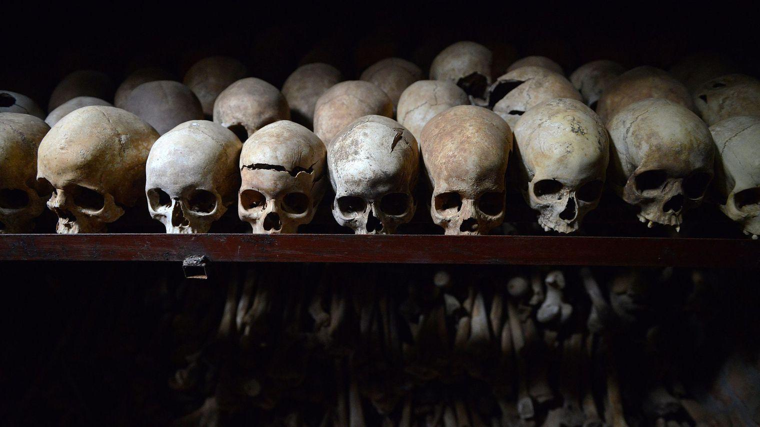Cranes de victimes du génocide rwandais exposées le 4 avril 2014 à l'intérieur de l'église catholique de Nyamata où des milliers de personnes ont été massacrées.