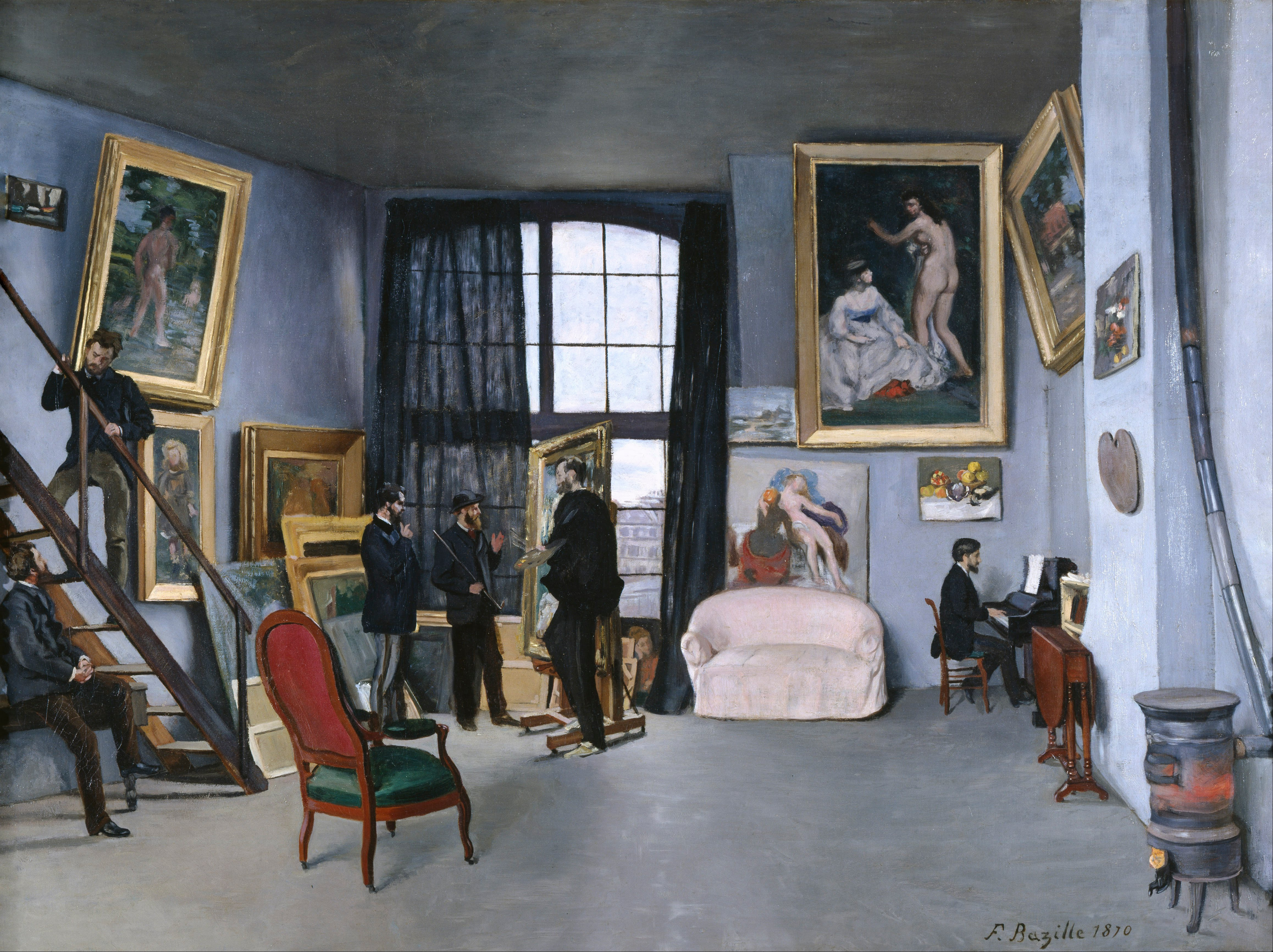 Bazille-Frederic-et-Manet-Edouard-L-atelier-de-Bazille-de-la-rue-de-la-Condamine-1870-Paris-musee-d-Orsay