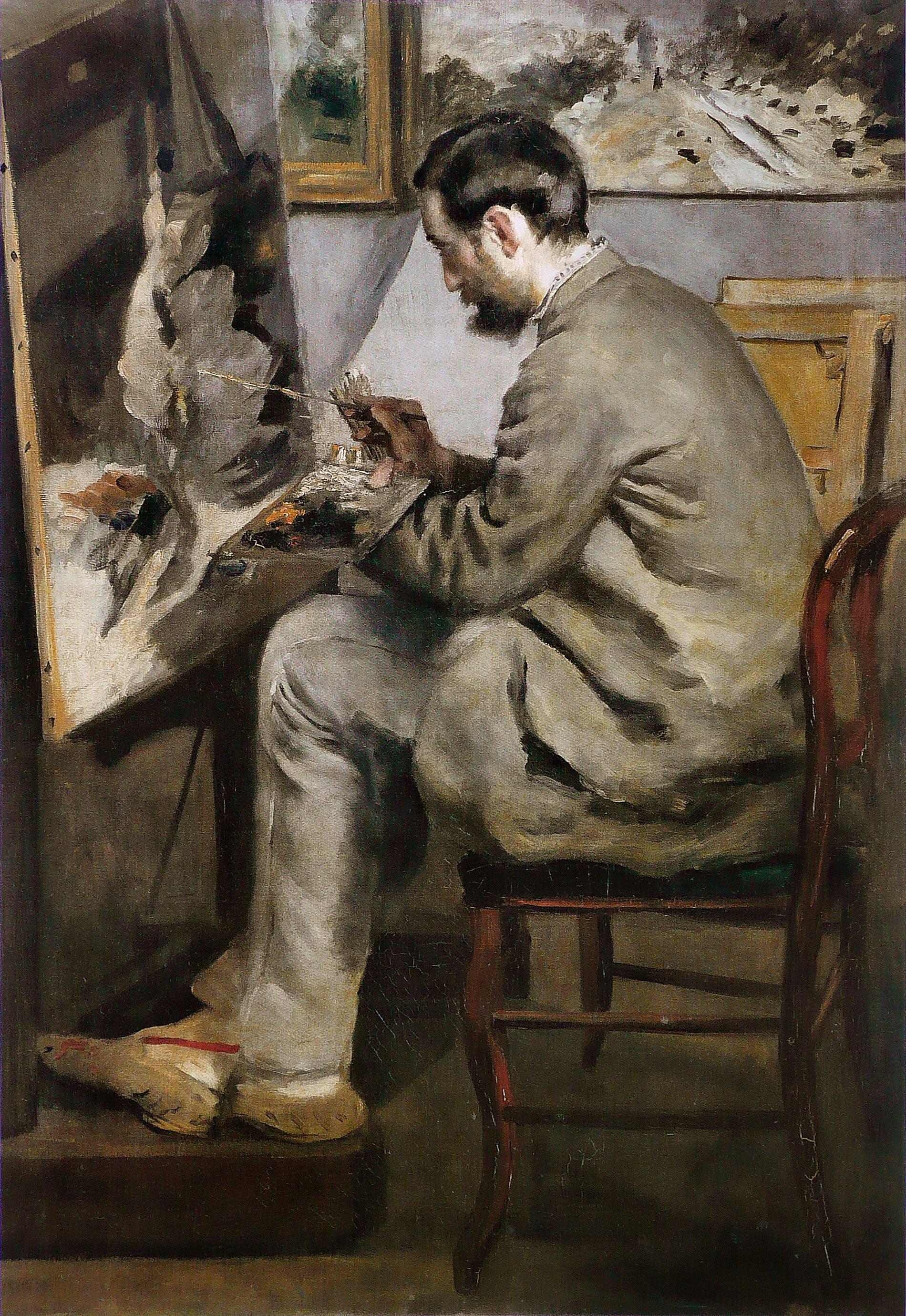Renoir-Pierre-Auguste-Bazille-peignant-a-son-chevalet-1867-105x73,5cm-Montpellier-musee-Fabre