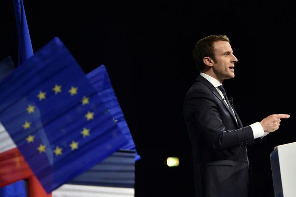 Emmanuel Macron à Nantes, lors d'un meetind de l'entre-deux tours de la présidentielle.