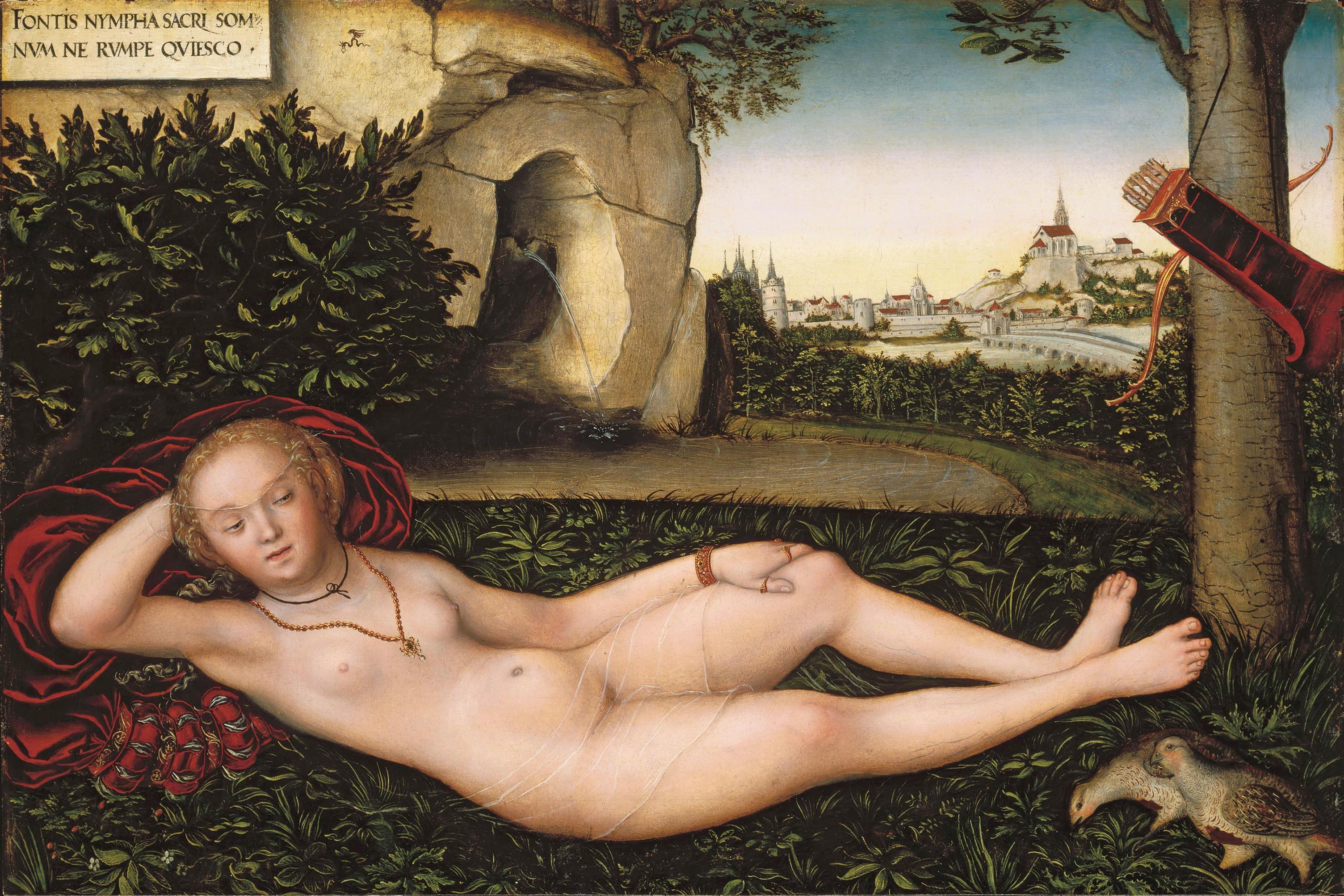 """La """"Nymphe à la source"""" de Lucas Cranach l'Ancien et son fameux voile transparent."""