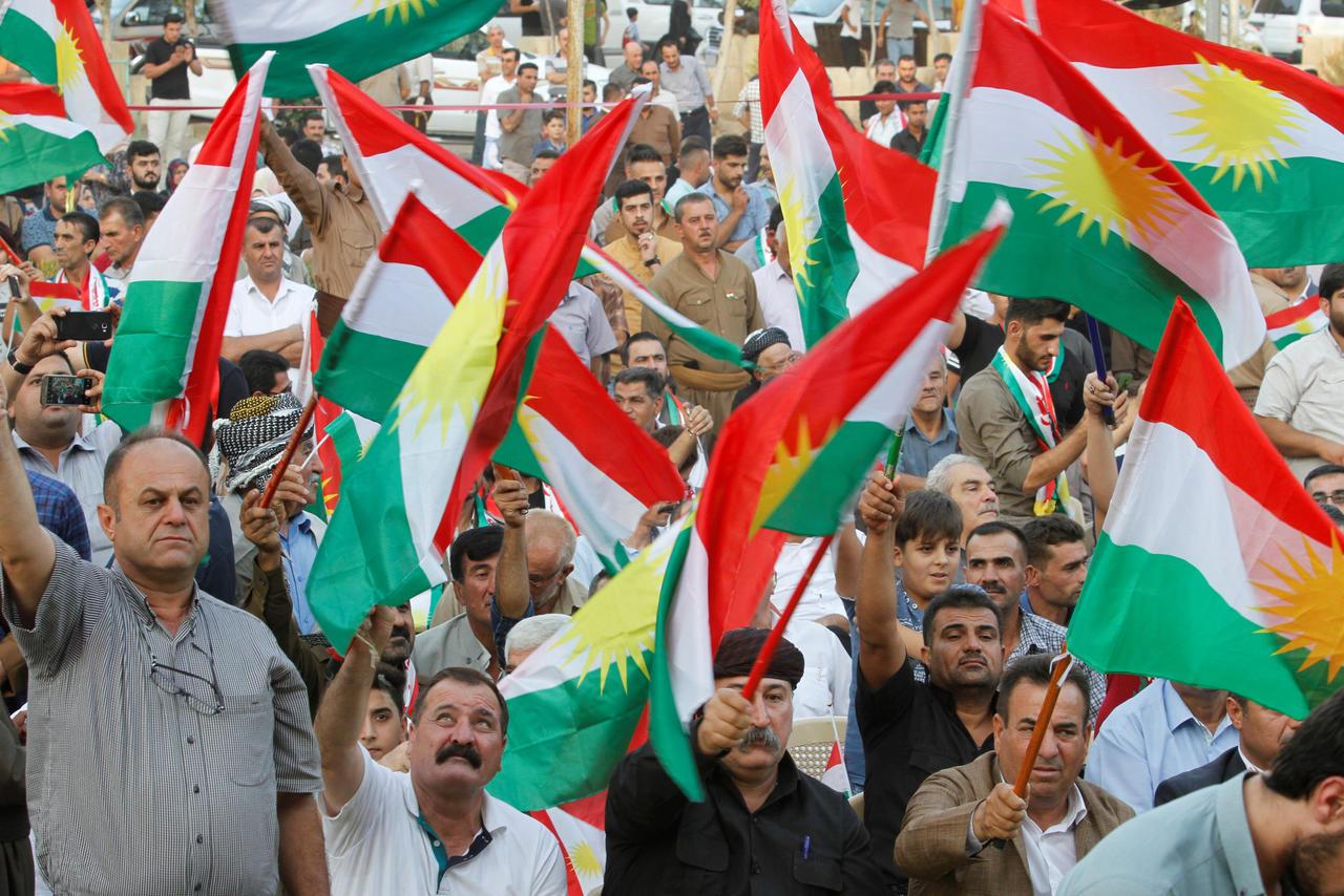 Manifestation à Kirkouk, en Irak, en faveur du référendum kurde, le 11 septembre 2017.