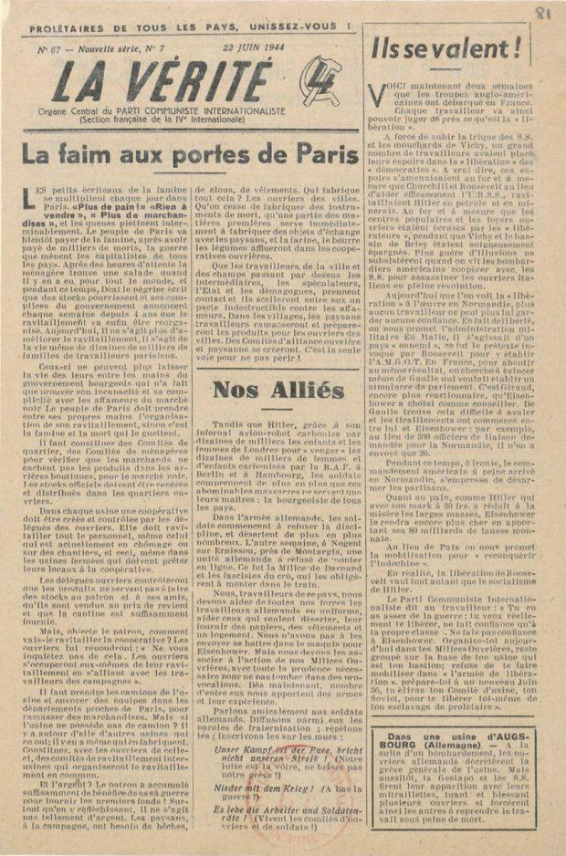 La Vérité - Organe Central du PCI n°67 : 22 juin 1944