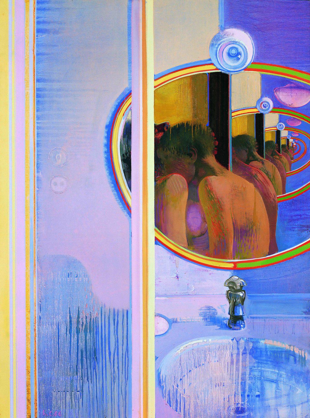 Alle spalle del desiderio, 1966, huile sur toile, 132 x 97 cm.