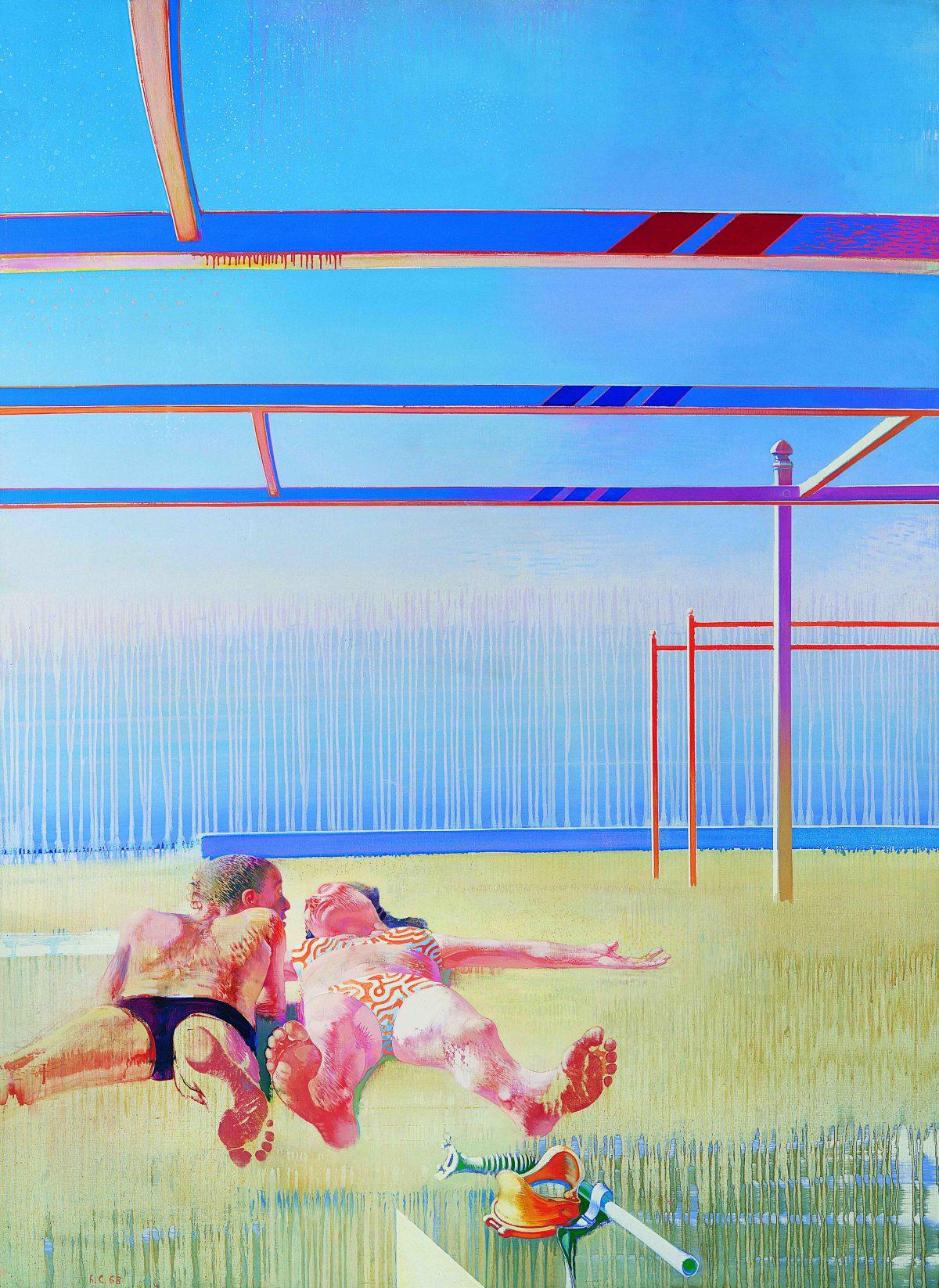 Les plafonds de la plage, 1968, huile sur toile, 201 x 147 cm.